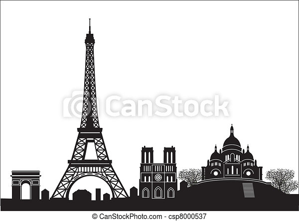 Paris skyline vectors illustration search clipart drawings and paris skyline vector voltagebd Choice Image
