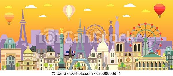 Paris skyline vector 11 - csp80806974
