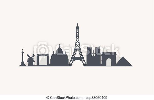 Paris Skyline Vector Graphics Flat City Illustration Eps