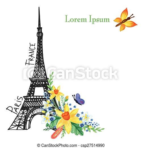 Paris Spring CardEiffel TowerWatercolor Flowers