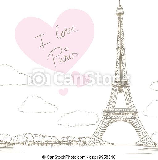 paris, torre, eiffel, amor - csp19958546