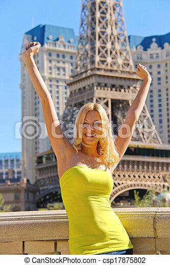 paris, vegas., hôtel, vacances, vegas, fond, girl, joyeux, las - csp17875802