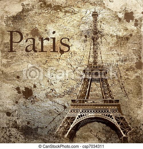 paris, vendange, grunge, fond, vue - csp7034311