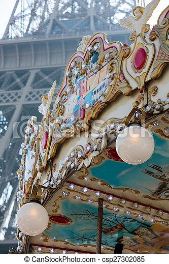 paris, vendange, tour, eiffel, carrousel - csp27302085