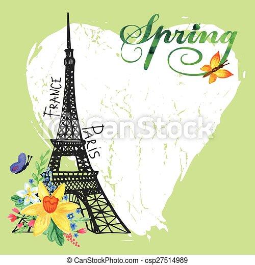 Paris Vintage Spring CardEiffel TowerWatercolor Flowers