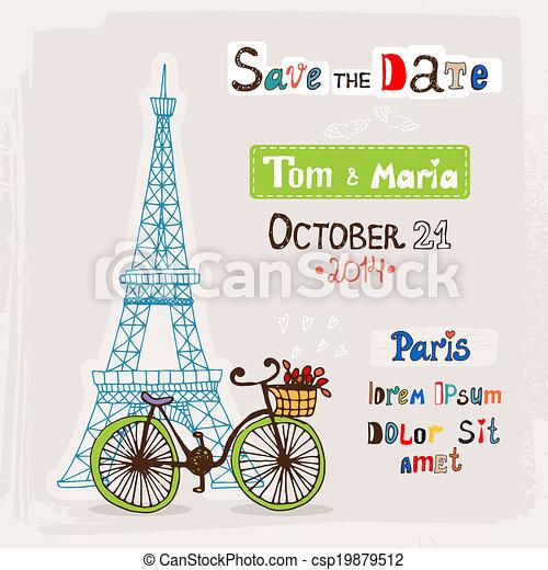 Paris wedding invitation - csp19879512