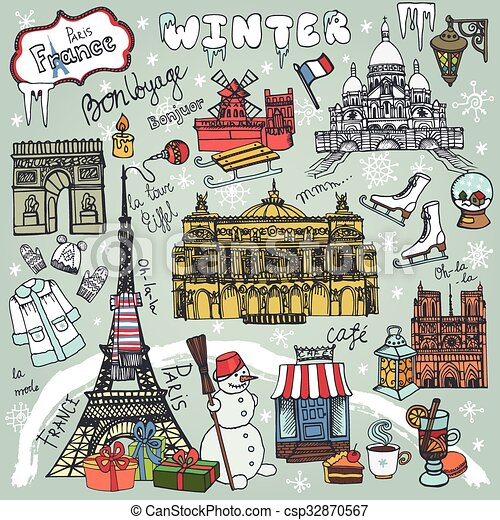 paris winter holidaylandmarklettering setmapvintage hand drawn doodle sketchyfrench good travellhellofashionnotre dame eiffel towersacre coeur