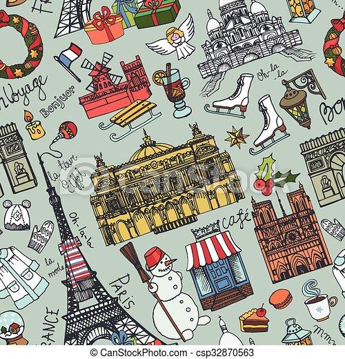 paris winter seamless patternlandmarklettering setmapvintage hand drawn doodle sketchyeiffel towerholiday season symbolsfrench good travellhello