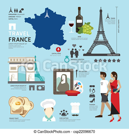 Paris,France Flat Icons Design Travel Concept.Vector - csp22096670