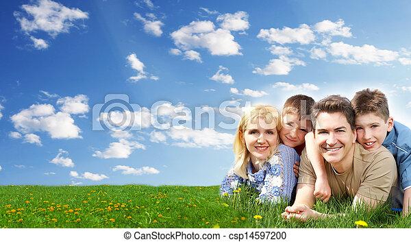 park., 弛緩, 家族, 幸せ - csp14597200