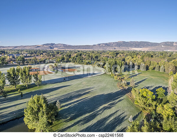 park aerial view with frost - csp22461568