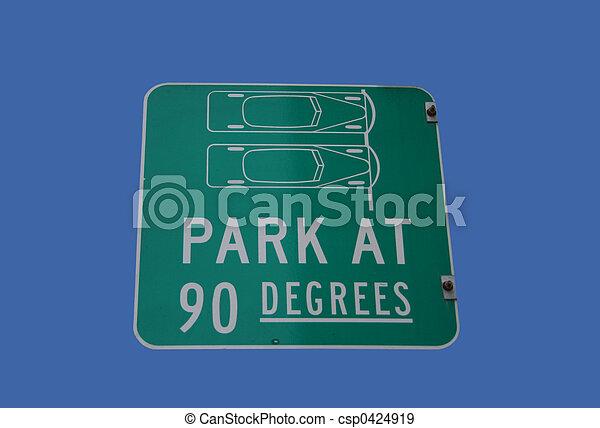 park at 90 degrees sign - csp0424919