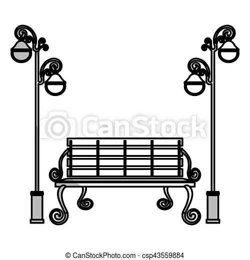 park bench icon park bench and vintage street lamps icon over white rh canstockphoto ca