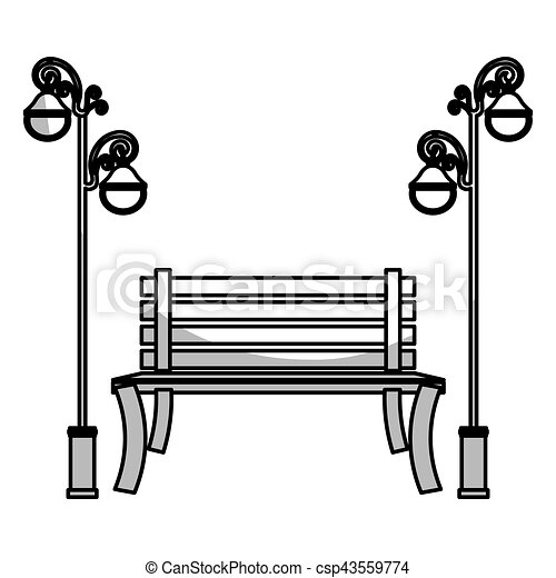 park bench icon park bench and vintage street lamps icon over white rh canstockphoto ie