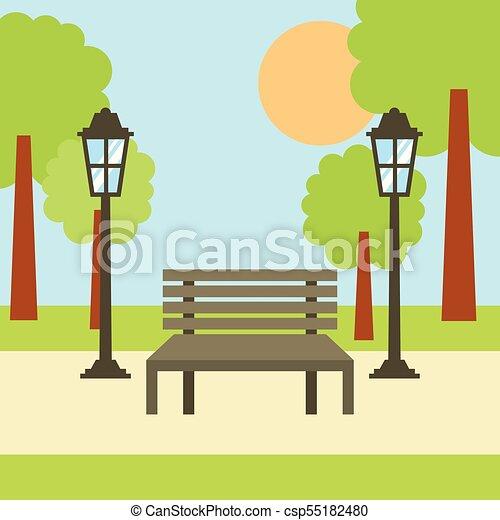 park bench lamp tree sun landscape scene vector illustration rh canstockphoto ca park bench clipart free