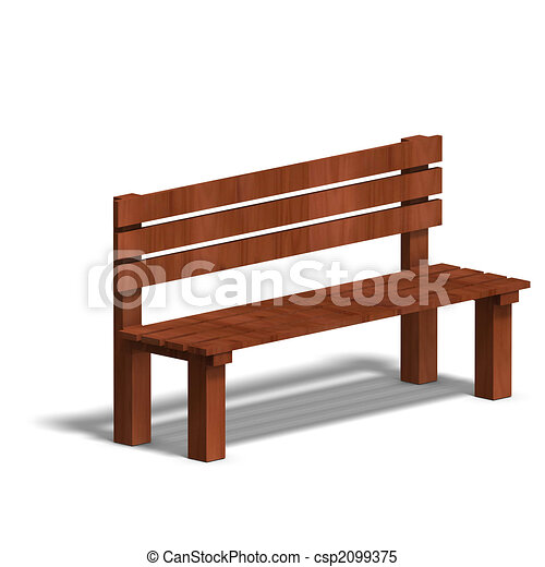 wooden park bench 3d render and shadow over white rh canstockphoto com