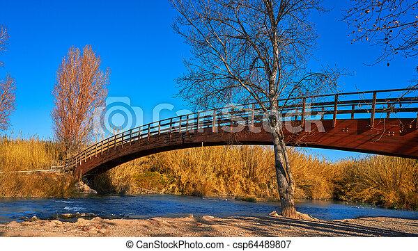 Park de Turia wooden bridge river Valencia - csp64489807