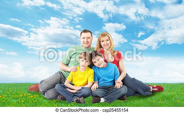 park., famille, délassant, heureux - csp25455154