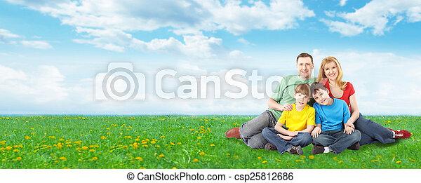 park., famille, délassant, heureux - csp25812686