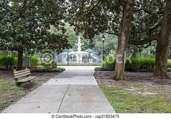 park, fontijn, forsyth, bankje - csp31823475
