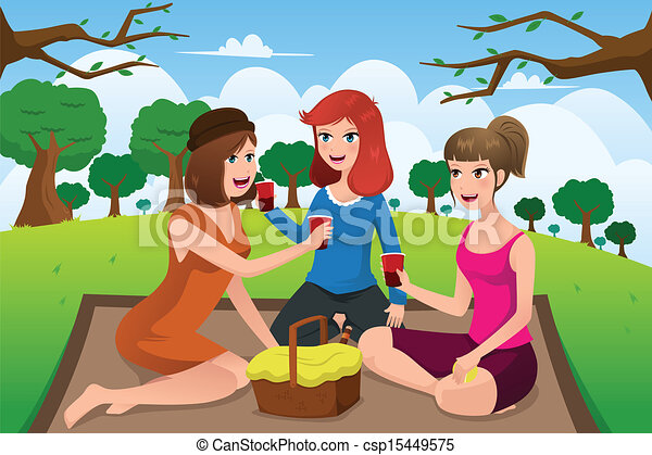 Park Frauen Picknick Junger Haben Vektor