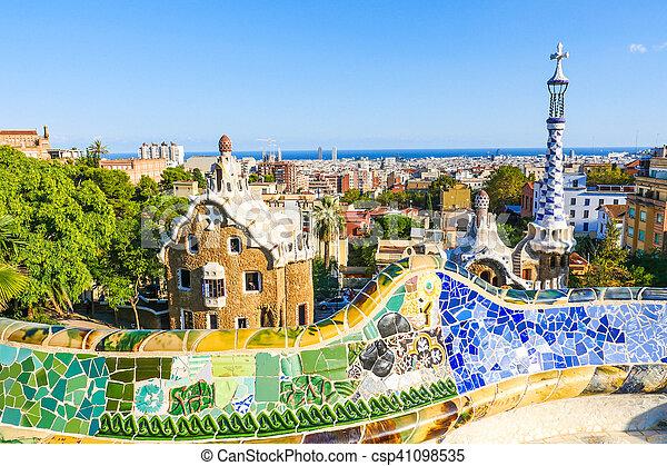 Park Guell By Architect Antoni Gaudi Barcelona Spain Park