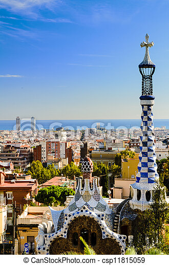 Park Guell in Barcelona, Spain - csp11815059