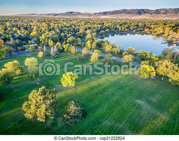 park in fall colors - aerial view - csp31222824