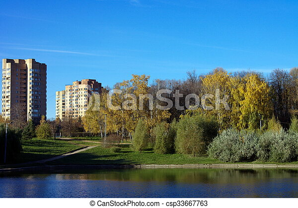 Park in Gold Fall - csp33667763