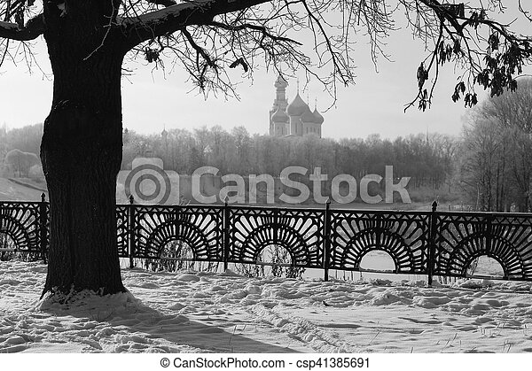 Park in winter black and white - csp41385691