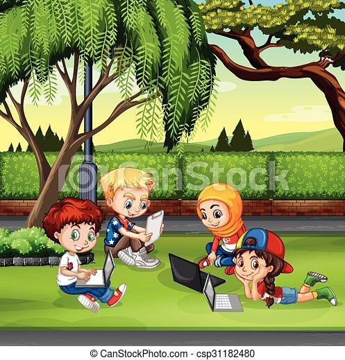Kinder, die im Park arbeiten - csp31182480