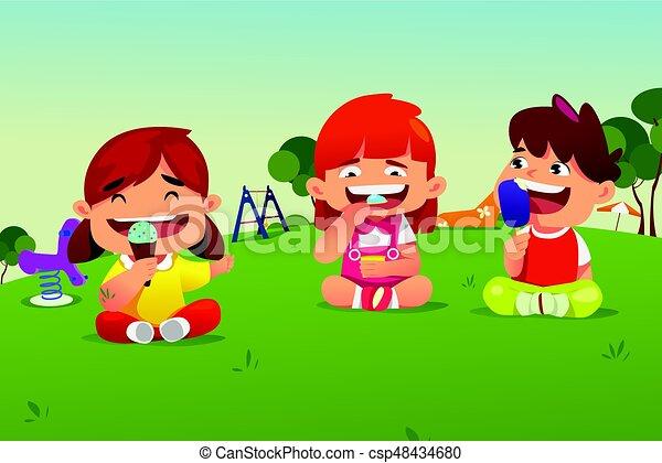 Park Kinder Essen Eis Kinder Essen Park Eis Vektor