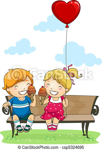 Park Kinder Essen Eis Kinder Essen Park Abbildung Eis