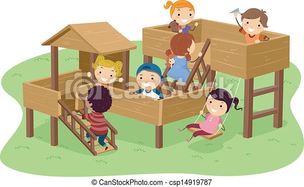 park, kinder, stickman, spielende  - csp14919787