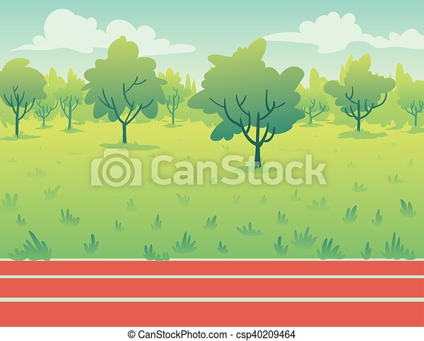 Park Landscape with running track. Environment. - csp40209464