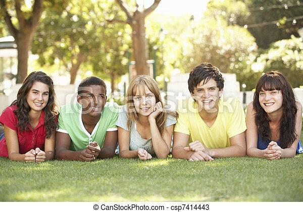 park, mägen, gruppe, teenager, liegen - csp7414443