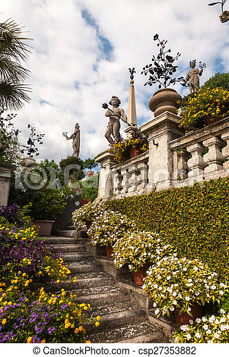 park on the island of Isola Bella. Italy - csp27353882