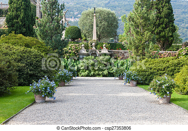 park on the island of Isola Bella. Italy - csp27353806