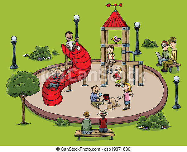 park playground . a cartoon park with children playing. vectors