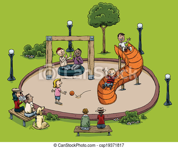 Park playground . A cartoon park with children playing ...