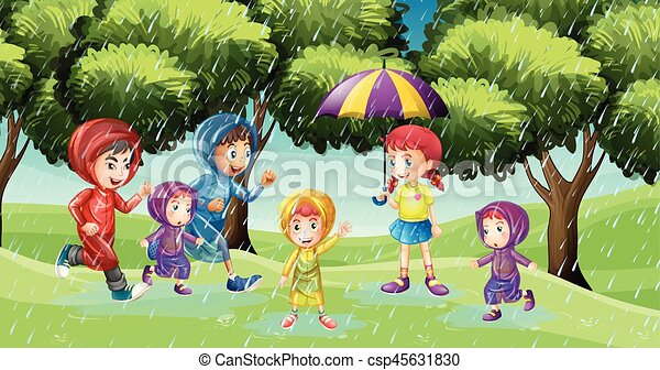 Park Scene With Children Running In The Rain