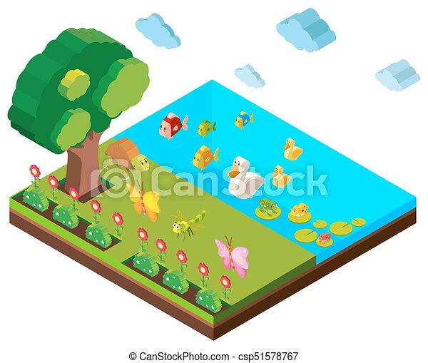 park scene with many animals in 3d design illustration clip art rh canstockphoto com clipart packages clip art party