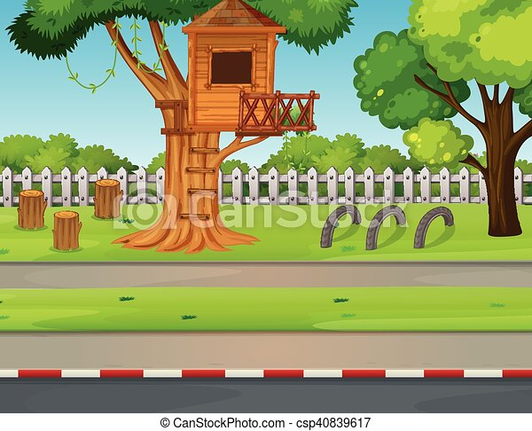 Park scene with treehouse along the road illustration.