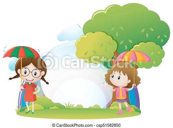 Park Schirm Zwei Mädchen Park Schirm Zwei Abbildung Mädels
