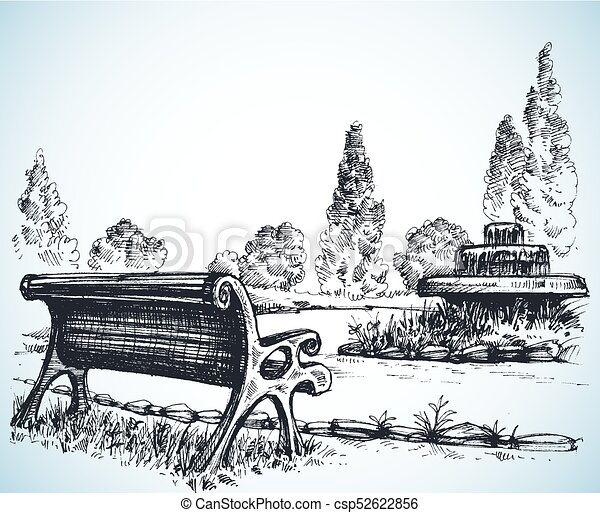 Park sketch, a fountain and bench - csp52622856