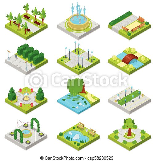 Park vector landscape of parkland with green garden trees and fountain or pond in city illustration set of isometric parkway in cityscape isolated on white background - csp58230523