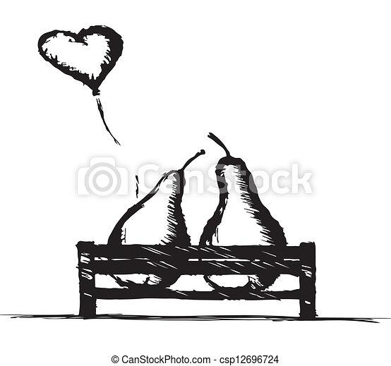 parkeer bank, liefde, peren - csp12696724