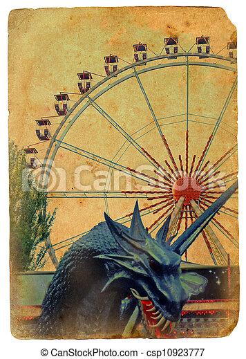 parkera, ferris, nöje, wheel. - csp10923777