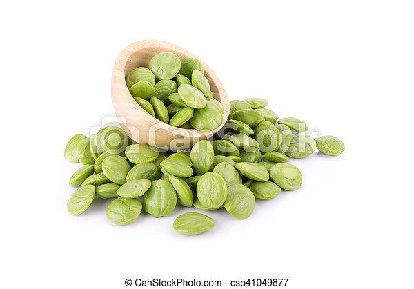 Parkia speciosa seeds or bitter bean on white background - csp41049877