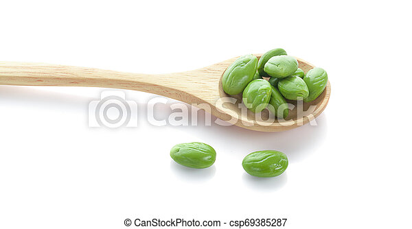 Parkia speciosa seeds or bitter bean on white background - csp69385287